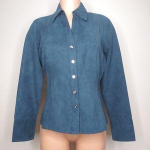 Cato Woman Blue Faux Suede Blouse Shirt Top Size S